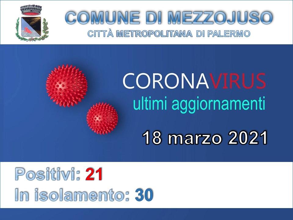 Situazione Emergenza Covid al 18 marzo 2021