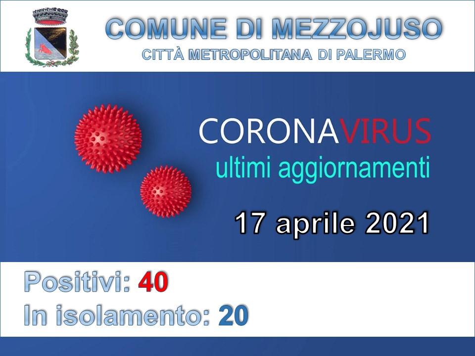 Situazione Emergenza Covid al 17 aprile 2021