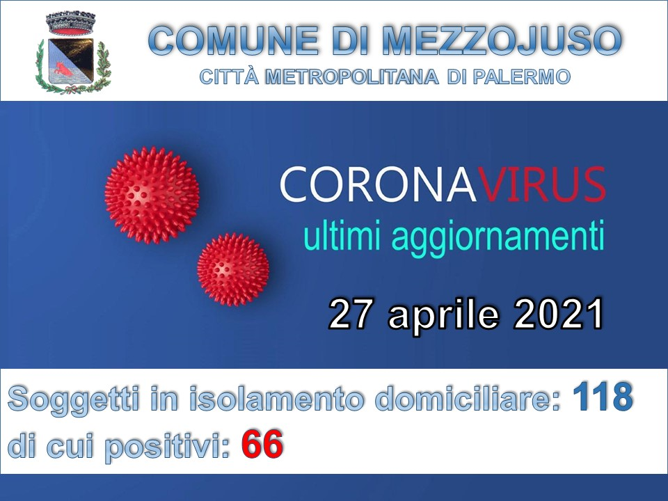 Situazione Emergenza Covid al 27 aprile 2021